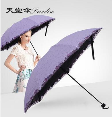 超强防晒折叠蕾丝刺绣晴雨伞